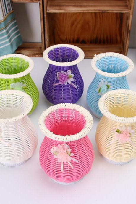 Wrought iron flower basket color rattan vase home decoration crafts wholesale